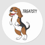 Cute Beagle Dog Puppy Treats Yum Dinner Time Love Classic Round Sticker
