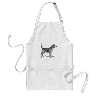 Cute Beagle Elegant Dog Drawing Aprons