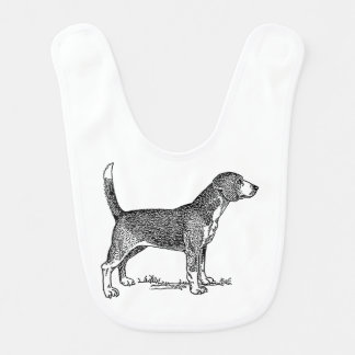 Cute Beagle Elegant Dog Drawing Bibs