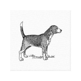 Cute Beagle Elegant Dog Drawing Canvas Print