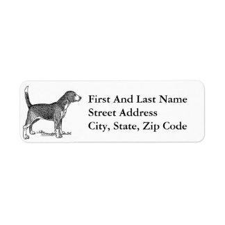 Cute Beagle Elegant Dog Drawing Label