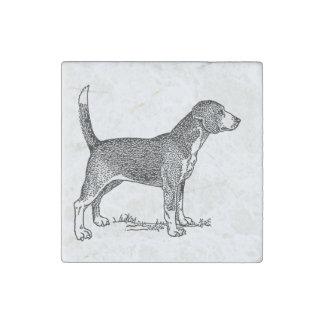 Cute Beagle Elegant Dog Drawing Stone Magnet
