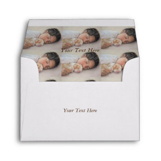 Cute beagle puppy and child realist art envelope