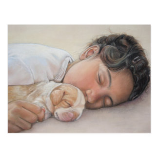 Cute beagle puppy and child realist art postcard
