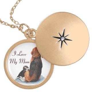 cute beagle puppy and mom dog realist art design locket necklace