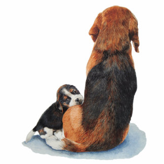 cute beagle puppy and mum dog art keychain cut out