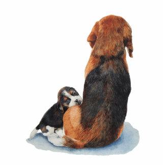 cute beagle puppy and mum dog art sculpture pin acrylic cut out