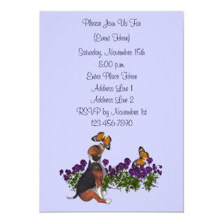 Cute Beagle Puppy Butterflies Animal Invitation