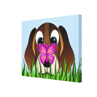 Cute Beagle Puppy Dog and Butterfly Canvas Print