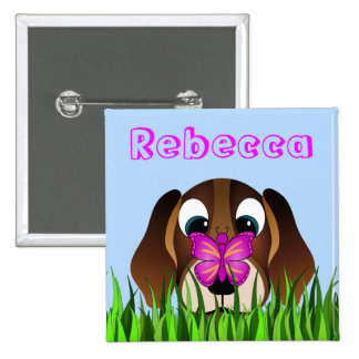 Cute Beagle Puppy Dog and Butterfly Girls Name Button