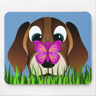 Cute Beagle Puppy Dog and Butterfly Mousepads