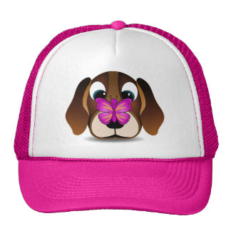 Cute Beagle Puppy Dog and Butterfly Pink Hat Mesh Hats