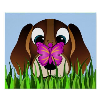 Cute Beagle Puppy Dog and Butterfly Poster Print