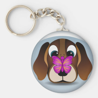 Cute Beagle Puppy Dog and Butterfly Round Keychain Key Chains