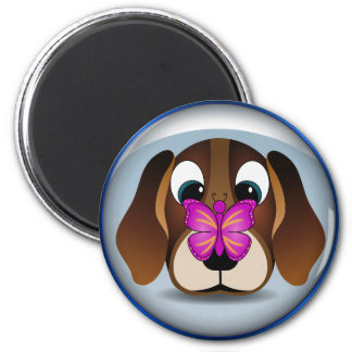 Cute Beagle Puppy Dog and Butterfly Round Magnets