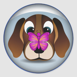 Cute Beagle Puppy Dog and Butterfly Round Stickers