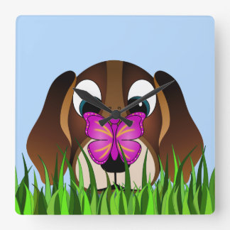 Cute Beagle Puppy Dog and Butterfly Square Clock