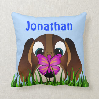 Cute Beagle Puppy Dog and Butterfly Square Pillows