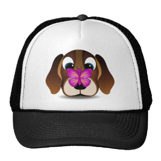 Cute Beagle Puppy Dog and Pink Butterfly Trucker Hat