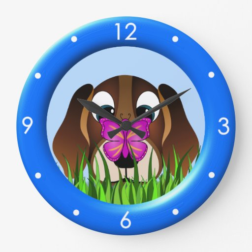 Cute Beagle Puppy Dog Butterfly Large Round Clock Wall Clocks