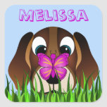 Cute Beagle Puppy Dog Butterfly Square Stickers Stickers