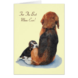 cute beagle puppy & mom dog versed greeting card