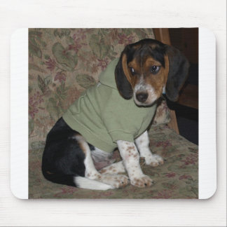 Cute Beagle Puppy Snoopy Wearing Hoodie Mouse Pad