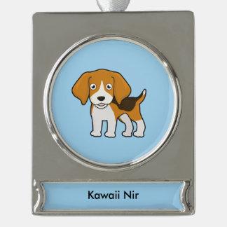 Cute Beagle Silver Plated Banner Ornament