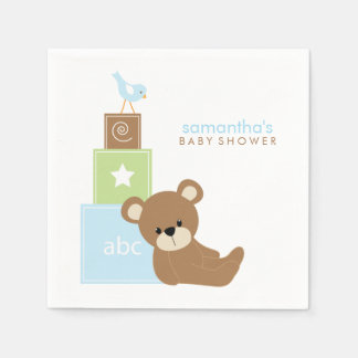 Cute Bear and Alphabet Toy Blocks Standard Cocktail Napkin