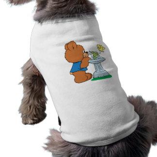 Cute Bear and Bird Bath Design Pet Tee Shirt