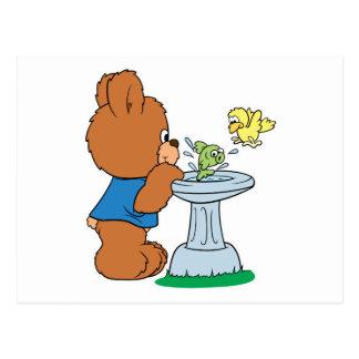 Cute Bear and Bird Bath Design Postcard