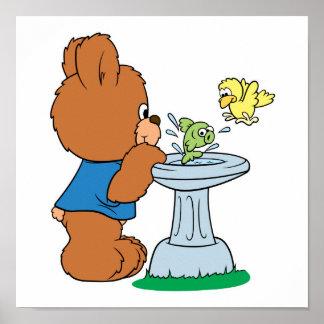 Cute Bear and Bird Bath Design Poster