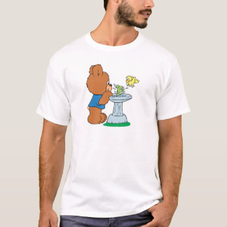 Cute Bear and Bird Bath Design T-Shirt