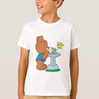 Cute Bear and Bird Bath Design T-Shirt