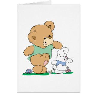Cute Bear and Easter Bunny Card