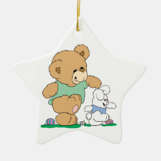 Cute Bear and Easter Bunny Christmas Ornament