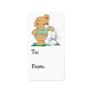Cute Bear and Easter Bunny Custom Address Label