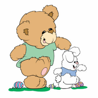 Cute Bear and Easter Bunny Cutout