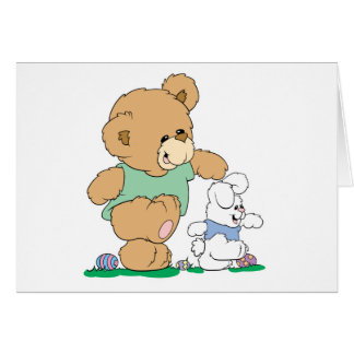 Cute Bear and Easter Bunny Greeting Card