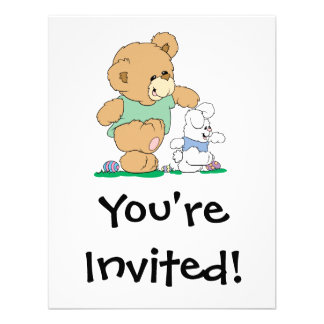 Cute Bear and Easter Bunny Personalized Announcement