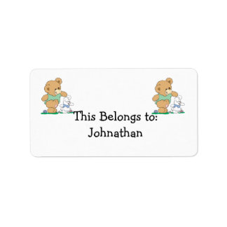 Cute Bear and Easter Bunny Personalized Address Label