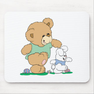 Cute Bear and Easter Bunny Mouse Pad