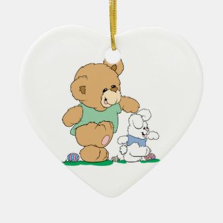 Cute Bear and Easter Bunny Double-Sided Heart Ceramic Christmas Ornament