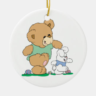 Cute Bear and Easter Bunny Ornament