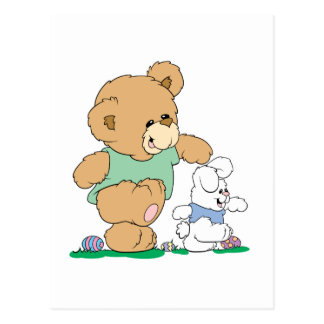Cute Bear and Easter Bunny Post Card