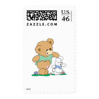 Cute Bear and Easter Bunny Postage