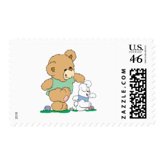 Cute Bear and Easter Bunny Postage Stamp