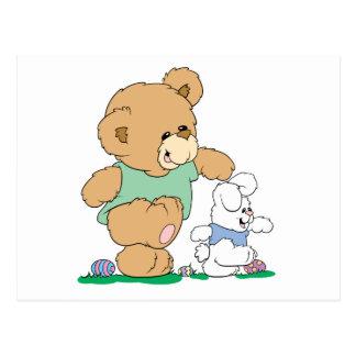 Cute Bear and Easter Bunny Postcard