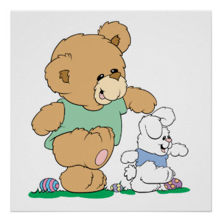 Cute Bear and Easter Bunny Posters