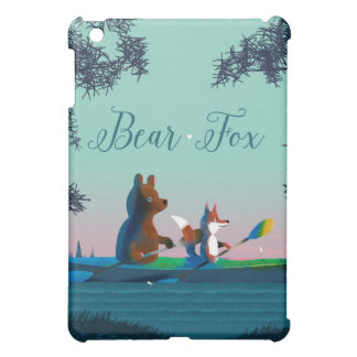 Cute Bear and Fox kayaking on a wild forest river iPad Mini Covers